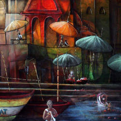 varanasi temple, 24 x 30 inch, chetna bernela,paintings,religious paintings,paintings for dining room,paintings for living room,paintings for bedroom,paintings for kids room,paintings for hotel,paintings for school,paintings for hospital,canvas,acrylic color,24x30inch,GAL0784521547