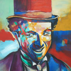 charlie chaplin, 20 x 20 inch, chetna bernela,paintings,modern art paintings,portrait paintings,paintings for living room,paintings for bedroom,paintings for kids room,paintings for hotel,canvas,acrylic color,20x20inch,GAL0784521548