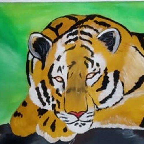 the resting tiger, 36 x 12 inch, shailesh kumar,paintings,wildlife paintings,paintings for dining room,paintings for living room,paintings for bedroom,paintings for office,paintings for bathroom,paintings for kids room,paintings for hotel,paintings for kitchen,paintings for school,paintings for hospital,canvas,acrylic color,36x12inch,GAL0136121556