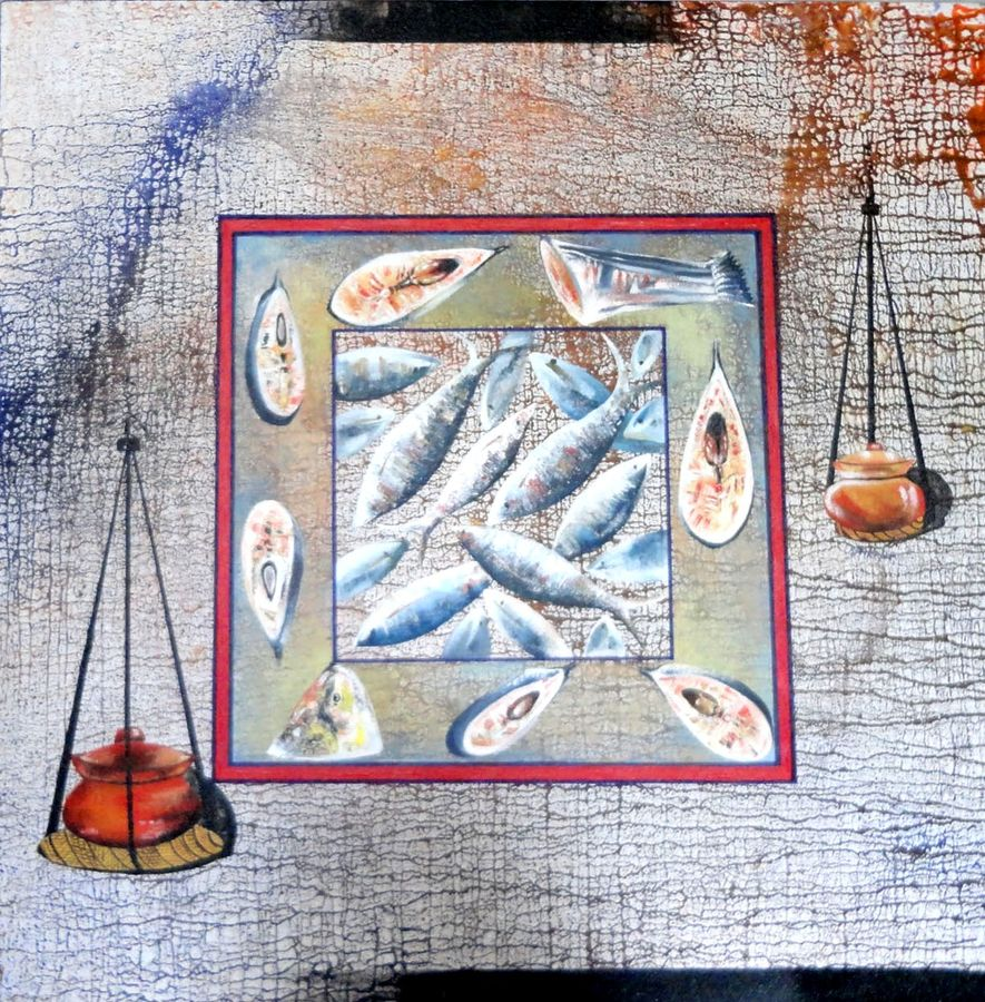 the hilsha, 30 x 30 inch, kankana  pal,abstract paintings,paintings for dining room,canvas,acrylic color,30x30inch,GAL08332156