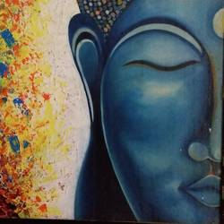 lord buddha painting, 40 x 36 inch, sarita  mishra,paintings,buddha paintings,canvas,mixed media,40x36inch,religious,peace,meditation,meditating,gautam,goutam,buddha,lord,blue,side,face,colourful ,GAL01119321566