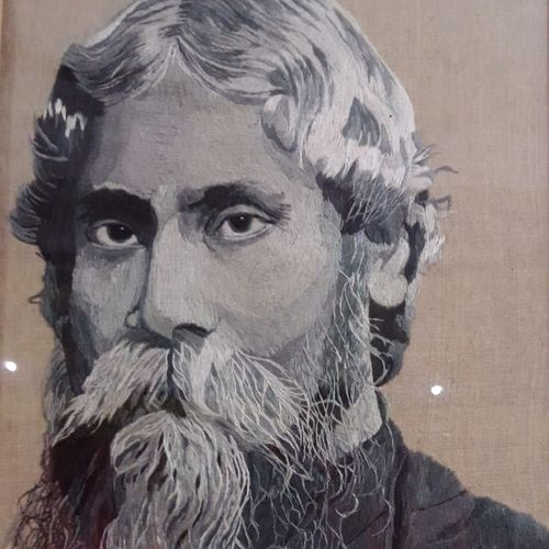 rabindra nath tagore - stitched with needle and thread, 11 x 18 inch, runu panjal,paintings,figurative paintings,paintings for dining room,paintings for living room,paintings for bedroom,paintings for dining room,paintings for living room,paintings for bedroom,cloth,fabric,11x18inch,GAL01127321567