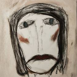 miss you already, 12 x 8 inch, zoya deb,drawings,abstract drawings,abstract expressionist drawings,expressionist drawings,figurative drawings,thick paper,charcoal,pastel color,12x8inch,GAL01141021569