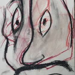 portrait of a bengali father, 12 x 8 inch, zoya deb,drawings,abstract drawings,abstract expressionist drawings,expressionist drawings,figurative drawings,thick paper,charcoal,pastel color,12x8inch,GAL01141021573