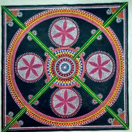 dot mandala, 30 x 30 inch, geeta kwatra,paintings,abstract paintings,paintings for living room,canvas,acrylic color,30x30inch,GAL0899121574