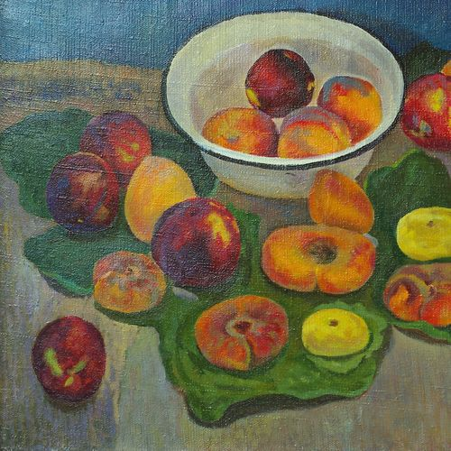 peaches in a white plate, 20 x 28 inch, moesey li,still life paintings,paintings for dining room,paintings,canvas,oil paint,20x28inch,GAL07182158