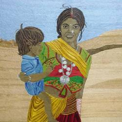 rajasthani nomad - hand stitched with needle and thread, 19 x 17 inch, runu panjal,paintings,figurative paintings,portrait paintings,cloth,fabric,19x17inch,GAL01127321582