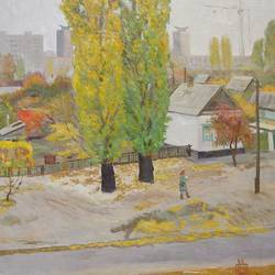 autumn. a postwoman, 35 x 28 inch, moesey li,landscape paintings,paintings for living room,paintings,canvas,oil paint,35x28inch,GAL07182159