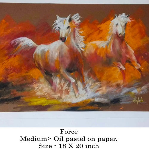 forced, 20 x 18 inch, arpita biswas dasgupta,paintings,animal paintings,horse paintings,paintings for dining room,paintings for living room,paintings for bedroom,paintings for office,paintings for hotel,thick paper,oil,pastel color,20x18inch,GAL01013621593