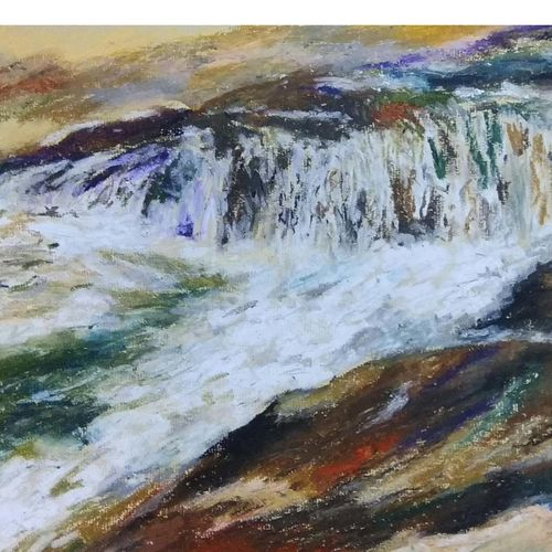 waves, 20 x 18 inch, arpita biswas dasgupta,paintings,landscape paintings,nature paintings,paintings for dining room,paintings for living room,paintings for bedroom,paintings for kids room,paintings for hotel,paintings for school,canson paper,pastel color,20x18inch,GAL01013621600Nature,environment,Beauty,scenery,greenery