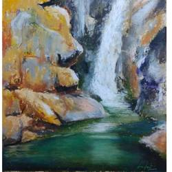 waterfall, 20 x 18 inch, arpita biswas dasgupta,paintings,landscape paintings,nature paintings,water fountain paintings,paintings for dining room,paintings for living room,paintings for bedroom,paintings for office,paintings for kids room,paintings for hotel,paintings for school,paintings for hospital,brustro watercolor paper,pastel color,20x18inch,GAL01013621601Nature,environment,Beauty,scenery,greenery