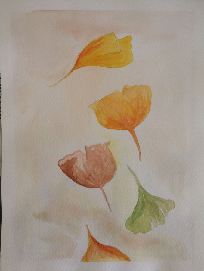 leaf colours , 7 x 9 inch, arpitha m d,art deco paintings,paintings for bedroom,fabriano sheet,watercolor,7x9inch,GAL08102161