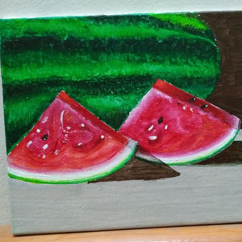 watermelon, 7 x 5 inch, anirban karmakar,paintings,still life paintings,paintings for dining room,paintings for kitchen,paintings for dining room,paintings for kitchen,canvas,acrylic color,7x5inch,GAL0864421610