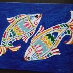 pair of fishes, 7 x 5 inch, anirban karmakar,paintings,animal paintings,madhubani paintings,paintings for dining room,paintings for living room,paintings for dining room,paintings for living room,canvas,acrylic color,7x5inch,GAL0864421612