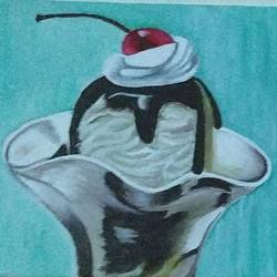 ice-cream, 7 x 5 inch, anirban karmakar,paintings,realistic paintings,paintings for dining room,paintings for kitchen,canvas,acrylic color,7x5inch,GAL0864421613