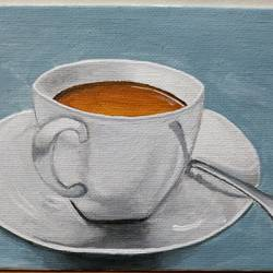 coffee anyone?, 7 x 5 inch, anirban karmakar,paintings,still life paintings,paintings for dining room,paintings for hotel,paintings for kitchen,canvas,acrylic color,7x5inch,GAL0864421614