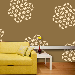 wall stencil: glossy flower design wall stencil , 1 stencil (size 12x12 inches) | reusable | diy, 12 x 12 inch, wall stencil designs,12x12inch,ohp plastic sheets,flower designs,plastic,GAL0121615,GAL0121615