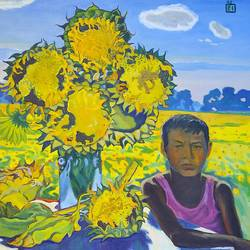 a boy and sunflowers, 30 x 35 inch, moesey li,landscape paintings,paintings for living room,paintings,canvas,oil paint,30x35inch,GAL07182162
