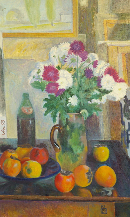asters, 32 x 20 inch, moesey li,still life paintings,paintings for living room,paintings,canvas,oil paint,32x20inch,GAL07182163
