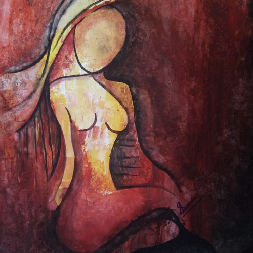 lady on fire, 11 x 14 inch, diyasha sarkar,paintings,abstract paintings,figurative paintings,modern art paintings,conceptual paintings,abstract expressionist paintings,expressionist paintings,illustration paintings,paintings for dining room,paintings for living room,paintings for bedroom,drawing paper,poster color,11x14inch,GAL01092621631
