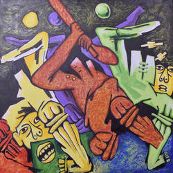 cricket players, 36 x 36 inch, rakesh  verma ,paintings,modern art paintings,canvas board,acrylic color,36x36inch,GAL0998921636