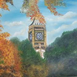 the big ben, 37 x 25 inch, idris khaleel,paintings,paintings for dining room,paintings for living room,paintings for bedroom,paintings for office,paintings for kids room,paintings for hotel,realistic paintings,canvas,oil,37x25inch,GAL01131721638