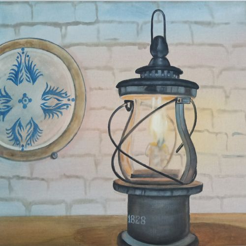 the vintage lantern, 23 x 16 inch, idris khaleel,paintings,realistic paintings,paintings for dining room,paintings for living room,paintings for bedroom,paintings for office,paintings for kids room,paintings for hotel,canvas,oil,23x16inch,GAL01131721639
