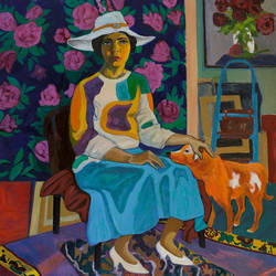 a lady with a red dog, 37 x 32 inch, moesey li,portrait paintings,paintings for office,dog painting,canvas,oil paint,37x32inch,GAL07182164