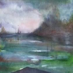 landscape, 12 x 8 inch, bablu pramanik,paintings,landscape paintings,handmade paper,watercolor,12x8inch,GAL0773821641