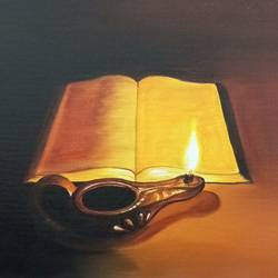 books with candlelight , 12 x 16 inch, sandhya kumari,paintings,still life paintings,photorealism,paintings for dining room,paintings for living room,paintings for bedroom,paintings for office,paintings for kids room,paintings for hotel,paintings for kitchen,paintings for school,paintings for hospital,canvas board,acrylic color,12x16inch,GAL0365921647