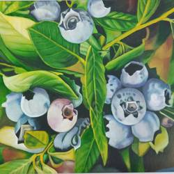 the blueberries, 23 x 16 inch, idris khaleel,paintings,nature paintings,paintings for dining room,paintings for living room,paintings for bedroom,paintings for office,paintings for kids room,paintings for hotel,canvas,oil,23x16inch,GAL01131721654Nature,environment,Beauty,scenery,greenery