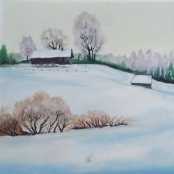 snowy winter, 37 x 25 inch, idris khaleel,paintings,nature paintings,paintings for dining room,paintings for living room,paintings for bedroom,paintings for office,paintings for kids room,paintings for hotel,canvas,oil,37x25inch,GAL01131721655Nature,environment,Beauty,scenery,greenery
