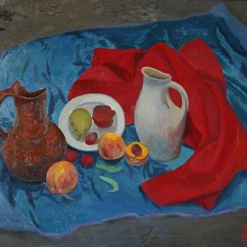 still life with peaches and a jug, 22 x 30 inch, moesey li,still life paintings,paintings for living room,paintings,canvas,oil paint,22x30inch,GAL07182166