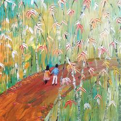 love struck in the bamboos , 18 x 12 inch, esther sandhya a,paintings,nature paintings,love paintings,paintings for bedroom,canvas,acrylic color,18x12inch,GAL0166321664heart,family,caring,happiness,forever,happy,trust,passion,romance,sweet,kiss,love,hugs,warm,fun,kisses,joy,friendship,marriage,chocolate,husband,wife,forever,caring,couple,sweetheartNature,environment,Beauty,scenery,greenery