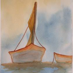 sailing boat, 9 x 12 inch, arpitha m d,abstract paintings,paintings for bedroom,fabriano sheet,watercolor,9x12inch,GAL08102167