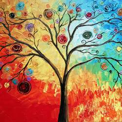 tree of spells, 16 x 12 inch, esther sandhya a,paintings,abstract paintings,landscape paintings,nature paintings,paintings for bedroom,paintings for kids room,paintings for school,canvas,acrylic color,16x12inch,GAL0166321671,Nature,environment,Beauty,scenery,greenery,tree,colourful