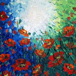 poppies in the wild, 12 x 12 inch, esther sandhya a,paintings,abstract paintings,flower paintings,landscape paintings,paintings for office,paintings for hotel,paintings for school,paintings for hospital,canvas,acrylic color,12x12inch,GAL0166321673