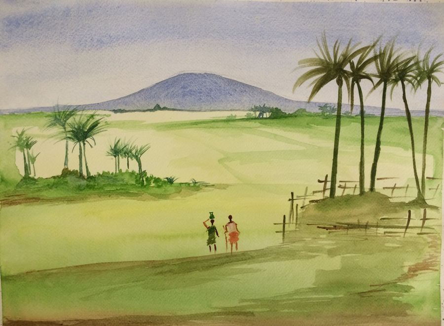 costal green, 12 x 15 inch, arpitha m d,landscape paintings,paintings for living room,fabriano sheet,watercolor,12x15inch,GAL08102168