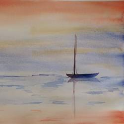 evening reflections, 12 x 15 inch, arpitha m d,nature paintings,paintings for living room,fabriano sheet,watercolor,12x15inch,GAL08102169Nature,environment,Beauty,scenery,greenery