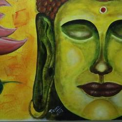 buddha in harmony, 24 x 32 inch, devendra  gupta,paintings,buddha paintings,canvas board,acrylic color,24x32inch,religious,peace,meditation,meditating,gautam,goutam,buddha,lord,green,side face,lotus,GAL01154221697