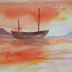 red evening, 12 x 15 inch, arpitha m d,nature paintings,paintings for living room,fabriano sheet,watercolor,12x15inch,GAL08102170Nature,environment,Beauty,scenery,greenery