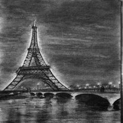 night lights eiffel tower, 8 x 12 inch, hemangini kappla,drawings,photorealism drawings,realism drawings,surrealist drawings,paintings for dining room,paintings for living room,paintings for bedroom,paintings for office,paintings for kids room,paintings for hotel,paintings for school,paintings for hospital,thick paper,charcoal,8x12inch,GAL0803721704