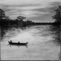 lake landscape , 16 x 12 inch, hemangini kappla,paintings,landscape paintings,nature paintings,thick paper,charcoal,16x12inch,GAL0803721706Nature,environment,Beauty,scenery,greenery