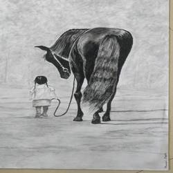 walk with friend, 23 x 16 inch, hemangini kappla,paintings,photorealism,surrealist paintings,animal paintings,love paintings,horse paintings,paintings for dining room,paintings for living room,paintings for bedroom,paintings for office,paintings for kids room,paintings for hotel,paintings for school,paintings for hospital,thick paper,charcoal,graphite pencil,23x16inch,GAL0803721707