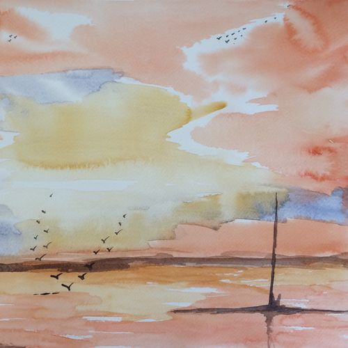 cloud and colours, 12 x 15 inch, arpitha m d,nature paintings,paintings for living room,fabriano sheet,watercolor,12x15inch,GAL08102171Nature,environment,Beauty,scenery,greenery