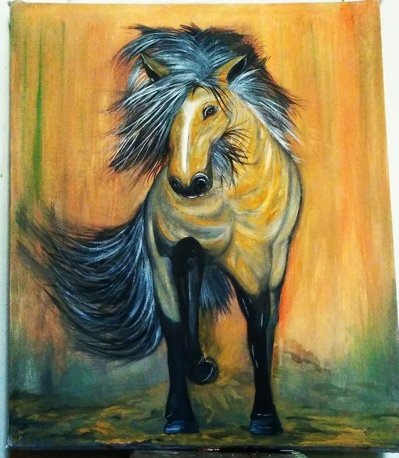 horse , 30 x 36 inch, deepak  rathore ,paintings,wildlife paintings,nature paintings,horse paintings,paintings for dining room,paintings for living room,paintings for bedroom,paintings for office,paintings for kids room,paintings for hotel,paintings for kitchen,paintings for school,paintings for hospital,canvas,natural color,poster color,30x36inch,GAL01111421720Nature,environment,Beauty,scenery,greenery