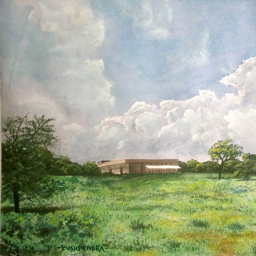 farm house, 15 x 11 inch, pushpendra singh mandloi,paintings,landscape paintings,paintings for dining room,paintings for living room,paintings for bedroom,thick paper,poster color,15x11inch,GAL0726221724