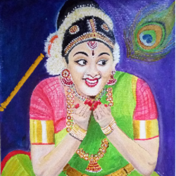shyness bharatanatyam, 16 x 19 inch, geetha k,paintings,portrait paintings,paintings for dining room,paintings for living room,paintings for office,paintings for hotel,canvas,acrylic color,16x19inch,GAL01072921734