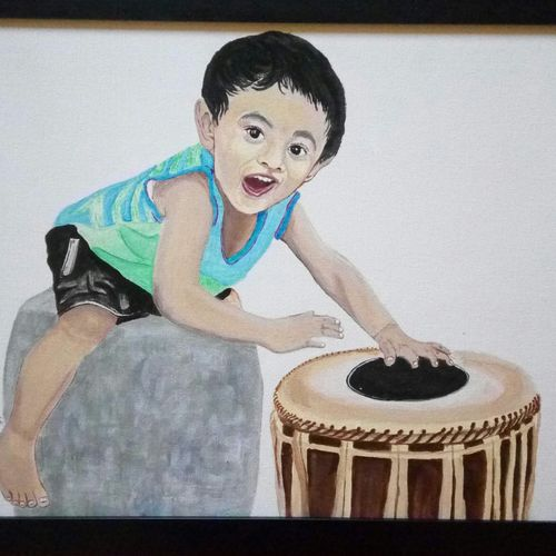 boy playing mridangam, 19 x 16 inch, geetha k,paintings,portrait paintings,paintings for dining room,paintings for living room,paintings for office,paintings for kids room,paintings for hotel,paintings for school,paintings for hospital,canvas,acrylic color,19x16inch,GAL01072921735