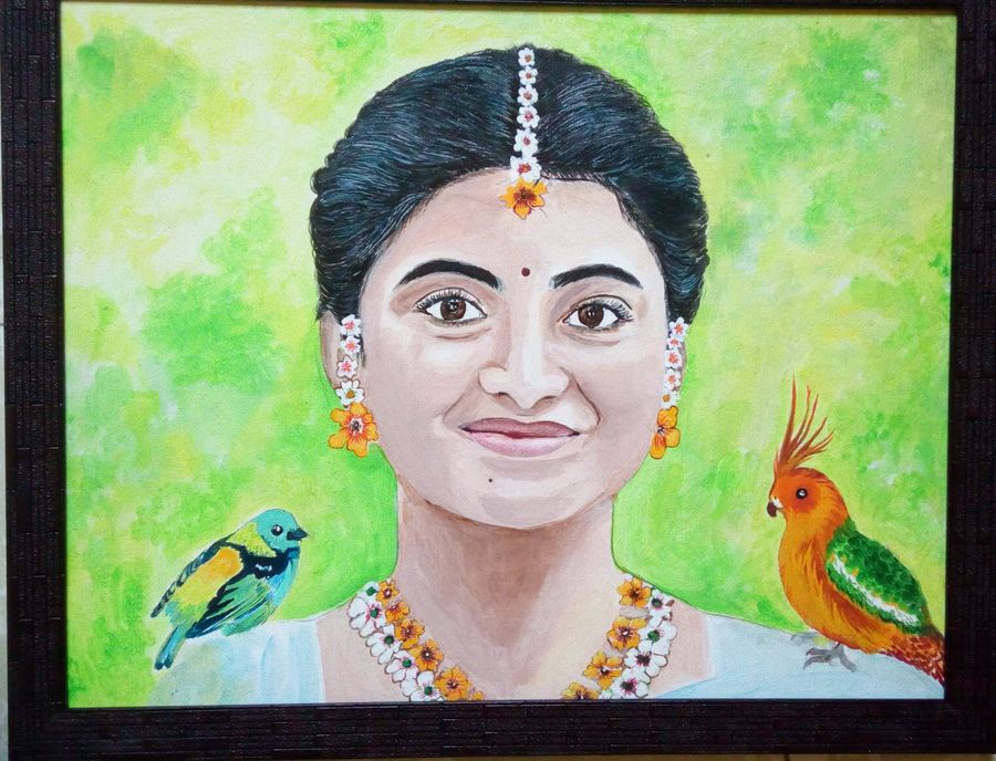 shakuntala, 19 x 16 inch, geetha k,paintings,portrait paintings,paintings for dining room,paintings for living room,paintings for office,paintings for hotel,paintings for hospital,canvas,acrylic color,19x16inch,GAL01072921736